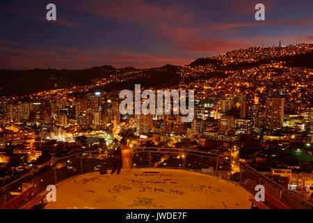 Sunset over La Paz, seen from Mirrador Killi Killi, Bolivia, South America - Stock Photo