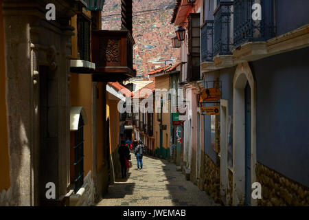 Narrow steep cobbled street of Calle Jaen, La Paz, Bolivia, South America - Stock Photo