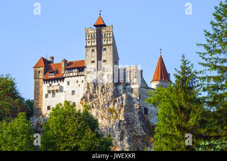 Mysterious place in Transylvania: Dracula's Land, Bran Castle. It was build in 14th century by  Saxons of Kronstadt. - Stock Photo