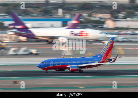 Southwest Airlines Boeing 737-7H4 N723SW arriving at San Diego International Airport. - Stock Photo