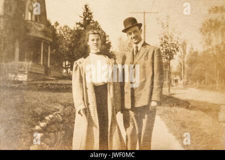 Man and woman in Minnesota USA 1907-1908 - Stock Photo
