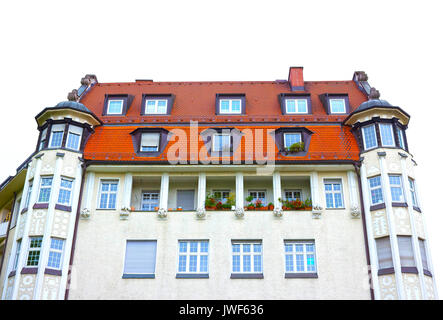 The fasade of typical residential house of Munich in Bavaria - Stock Photo