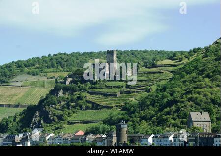 Gutenfels Castle, Kaub, Rhineland, Germany - Stock Photo