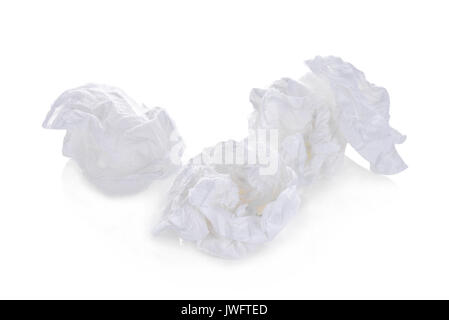 toilet paper balls isolated on white background - Stock Photo