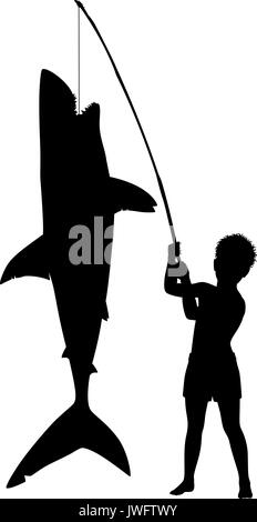 Editable vector silhouette of a young boy over achieving by catching a large shark with a small rod - Stock Photo