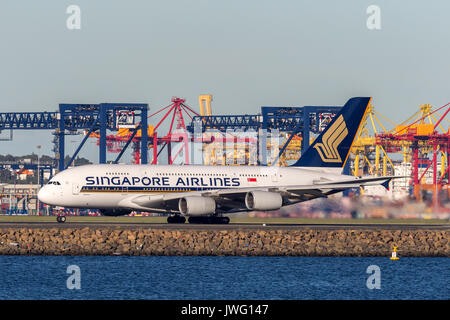 Singapore Airlines Airbus A380 aircraft at Sydney Airport. - Stock Photo