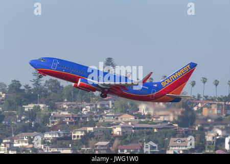 Southwest Airlines Boeing 737-7H4 N458WN departing San Diego International Airport. - Stock Photo