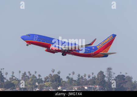 Southwest Airlines Boeing 737-7H4 N237WN departing San Diego International Airport. - Stock Photo