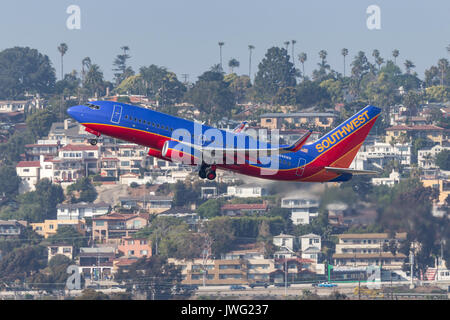 Southwest Airlines Boeing 737-7H4 N948WN departing San Diego International Airport. - Stock Photo