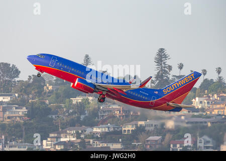 Southwest Airlines Boeing 737-7H4 N426WN departing San Diego International Airport. - Stock Photo