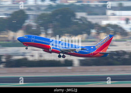 Southwest Airlines Boeing 737-3L9 N658SW departing San Diego International Airport. - Stock Photo