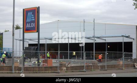 Aldi supermarket being built under construction Drumchapel Glasgow UK - Stock Photo