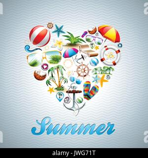 Vector Love Heart Summer Holiday design set on wave background. Eps10 illustration. - Stock Photo
