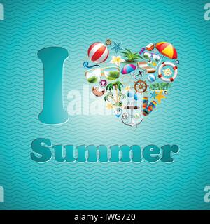 Vector Love Heart Summer Holiday design set on blue wave background. Eps10 illustration. - Stock Photo