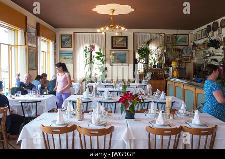 Restorante Milano at Peschiera Maraglio Monte Isola, Lake Iseo, Italy - Stock Photo