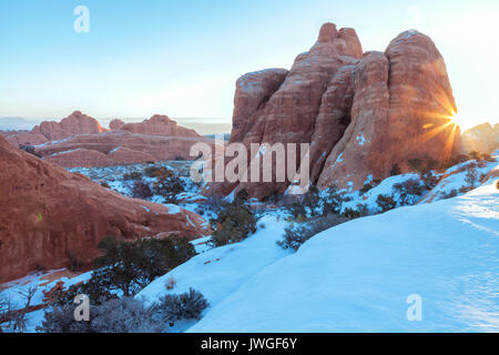 Utah landscape at Arches National Park on an early winter morning. - Stock Photo