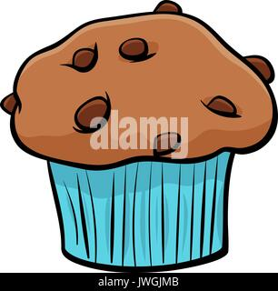 Cartoon Illustration of Sweet Muffin Cake with Chunks of Chocolate Clip Art Food Object - Stock Photo
