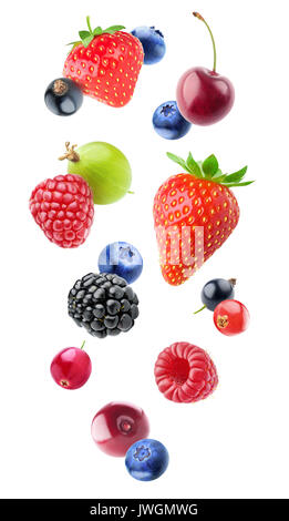 Isolated falling berries. Mixed fruits in the air (blueberry, blackberry, raspberry, strawberry, gooseberry, cherry, - Stock Photo