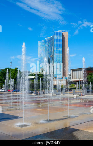 Place des Nations (United Nations Square) with fountains and the World Intellectual Property Organization headquarters. - Stock Photo