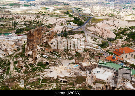 View from the top of the cave city Uchhisar. Uchhisar City, Cappadocia, Turkey.