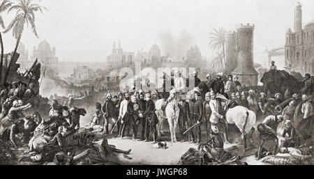 The meeting of Sir Colin Campbell with Havelock and Outram at the second relief of Lucknow, 1857.  Field Marshal - Stock Photo
