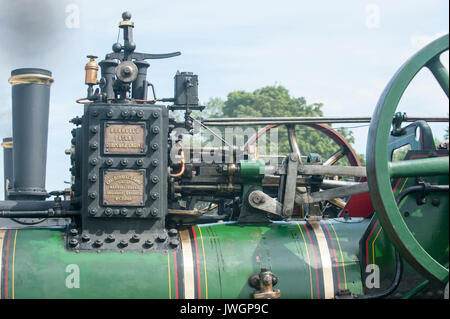 Close up of valve gear on the top of a traction engine - Stock Photo