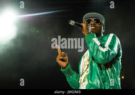 Rapper NAS performing 2008 Rock Bells Glen Helen Pavilion Los Angeles. - Stock Photo