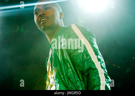 Rapper Nas performs Rock Bells. - Stock Photo
