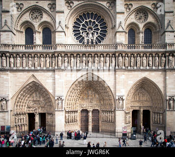 Front facade of Cathedral Notre Dame, Paris France - Stock Photo