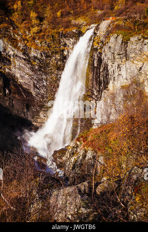 view on Buldrefossen waterfall, Gamle Strynefjellsvegen, Norway - Stock Photo