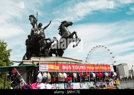 A bronze statue of Boadicea (Boudicca), by Thomas Thornycroft, standing in her chariot with her daughters, located - Stock Photo