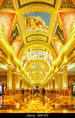 The intricate patterns on the ceiling of the Venetian Hotel and Casino, Cotai, Macau. - Stock Photo