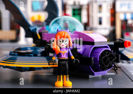 Tambov, Russian Federation - March 04, 2017 Lego DC Super Hero Batgirl mini-doll figure standing in front of his - Stock Photo