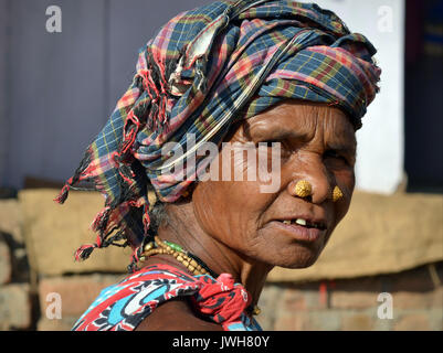 Closeup street portrait (outdoor headshot, three-quarter view) of an elderly Indian Adivasi market woman with two - Stock Photo