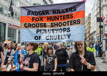 London, UK. 12th Aug, 2017. In a Protest organised by the Make Hunting History coalition, the Badger Trust and Care2 - Stock Photo