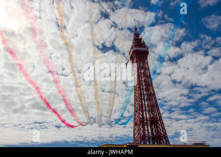 Blackpool, Lancashire, UK. 12th Aug, 2017. Red Arrows, aircraft, red, aviation, flight, airshow, jet, plane, flying, - Stock Photo