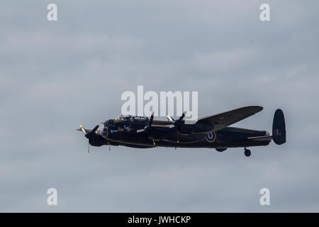 Blackpool, Lancashire, UK. 12th Aug, 2017. Lancaster from hte Battle of Britain Memorial Flight at Blackpool Credit: - Stock Photo