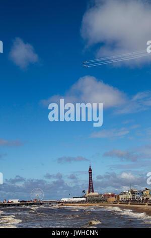 Blackpool, Lancashire, UK. 12th Aug, 2017. Blades Air Display Team over Blackpool Tower Credit: Russell Millner/Alamy - Stock Photo