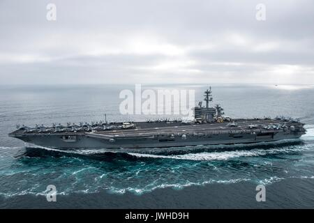 Pacific Ocean. 11th Aug, 2017. The U.S. Navy Nimitz-class nuclear aircraft carrier USS Theodore Roosevelt during - Stock Photo