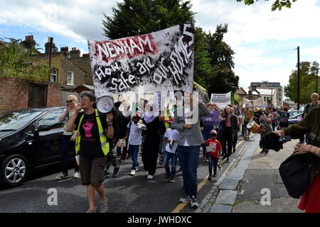 East London, UK. 12th Aug, 2017. Dozens of residents protest in London against demolition of council estates East - Stock Photo