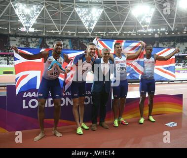 London, UK. 12th Aug, 2017. Nethaneel Mitchell Blake, Daniel Talbot, Sa Khan, Adam Gemili & Chijindu Ujah 4 X100 - Stock Photo