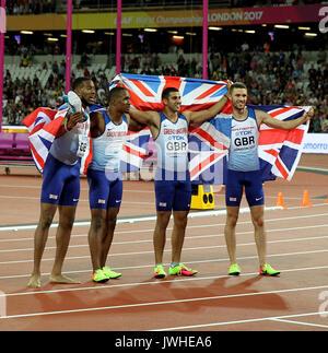 London, UK. 12th Aug, 2017. Nethaneel Mitchell Blake, Chijindu Ujah, Daniel Talbot, Adam Gemili 4 X100 Metres Winners - Stock Photo