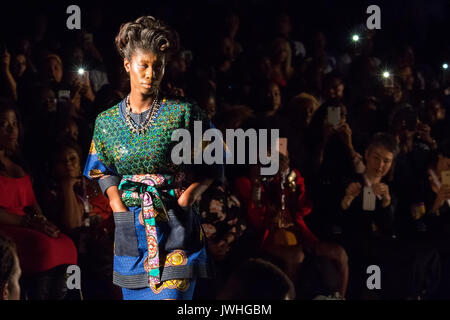London, UK. 12th Aug, 2017. Soboye is showcased on the second day of the seventh edition of the AFWL. Credit: Laura - Stock Photo