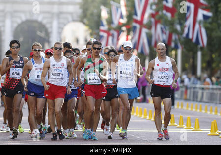 London, UK. 13th Aug, 2017.  Athletes compete during the 50km Race Walk at the IAAF World Athletics Championships, - Stock Photo