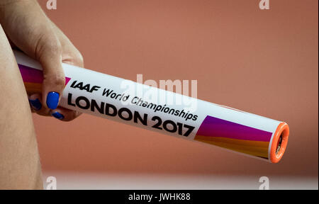 London, UK. 12th August, 2017. Relay Baton at the IAAF World Championships LONDON 2017 during the Women's 4x100 - Stock Photo