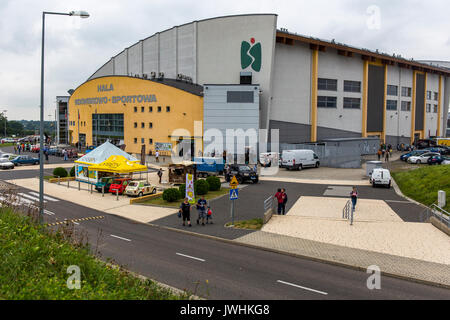 Bielsko-Biala, Poland. 12th Aug, 2017. International automotive trade fairs - MotoShow Bielsko-Biala. Main building. - Stock Photo