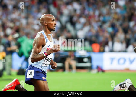 Mo Farah, Great Britain, in the men's 5000m final on day nine of the IAAF London 2017 world Championships at the - Stock Photo