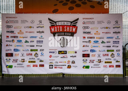 Bielsko-Biala, Poland. 12th Aug, 2017. International automotive trade fairs - MotoShow Bielsko-Biala. Motoshow billboard. - Stock Photo
