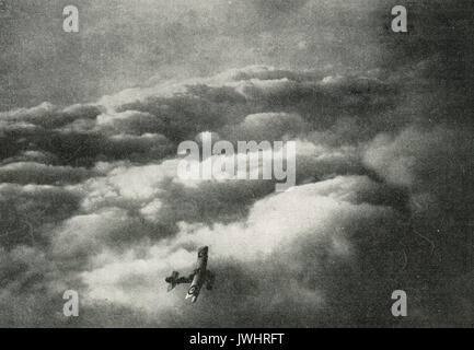 WW1 Flying Ace Jean Marie Dominique Navarre, returning to base after his 5th kill - Stock Photo