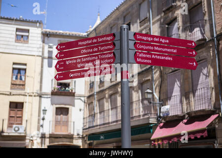 Tourist signs of indication, tourist signs in the city of Ubeda, Andalusia, Spain - Stock Photo